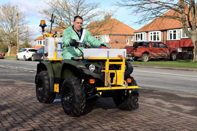 VALE Engineering's PKL450 ATV quad bike mounted weed sprayer is one of the only spraying systems suitable for highway kerb-edge spraying, hard surfaces and mowing margins.