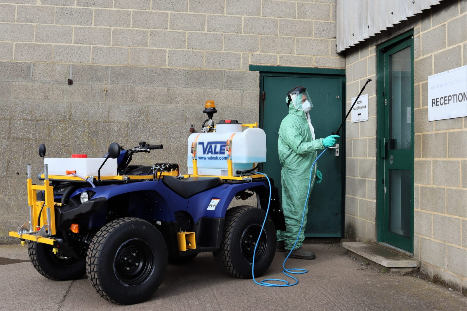 Local authorities and contractors in the municipal and amenity sectors have realised that VALE Engineering's weed spraying ATV could also be suitable for spraying disinfectant to sanitize large public areas including streets, walkways and open-plan buildings such as airports, sports venues, shopping centres and retail parks.