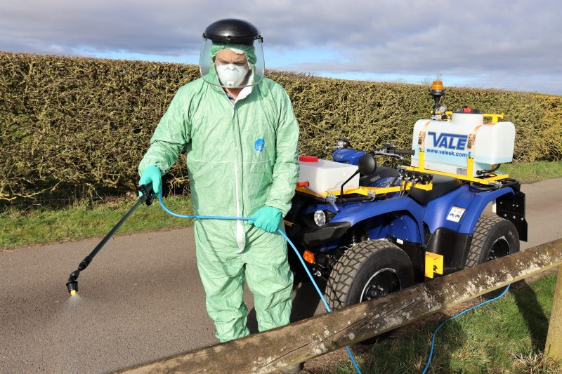 VALE Engineering's quad-bike based weed control equipment has the potential to be used to help control the spread of Coronavirus.