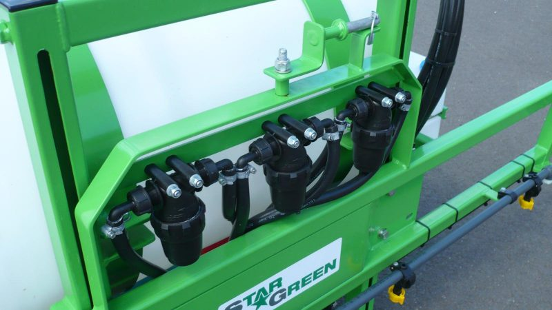 3 inline pressure filters feeding the individual boom sections on the AS200 STARGREEN Tractor Mounted Amenity Sprayer