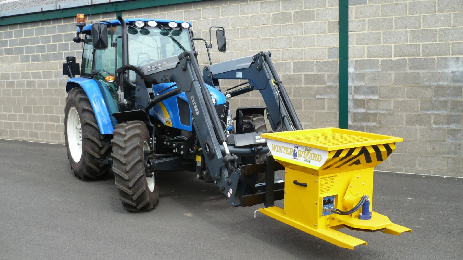 The Winter Wizard salt spreader was specifically designed to be forklift-tine mountable