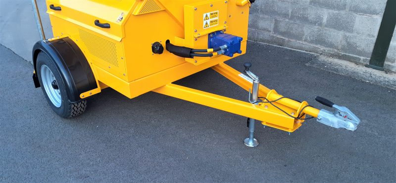 The TS800DC Tug-Towed Salt Spreader has a prop stand wheel with heavy duty road going wheels and tyres