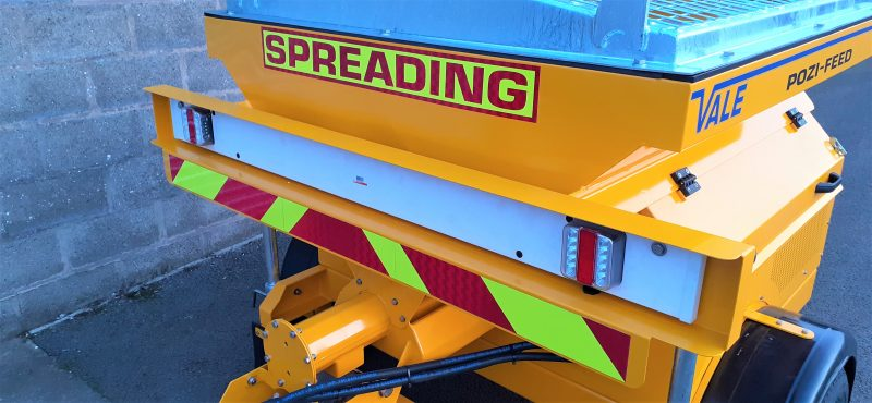 Fluorescent markings on the rear of the TS800DC Tug-Towed Salt Spreader