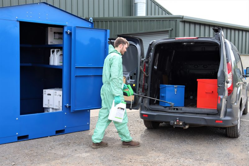 VALE Engineering make this 1500 litre, walk-in chemical store for use in permanent and semi-permanent situations.