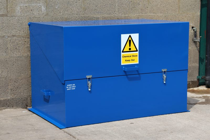 VALE Engineering's VCS400 chemical storage safe has approximately 400 litre capacity - with an 80 x 5 litre capacity