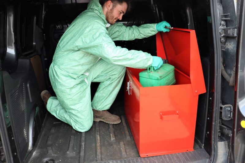 The VFSJC fuel storage box from VALE Engineering can be fixed to the floor of a pickup or van or installed within a building.