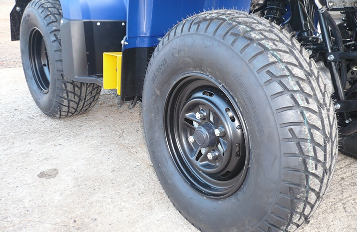E marked road legal tyres on VALE Engineering's ATV quad bike mounted Weed Sprayer