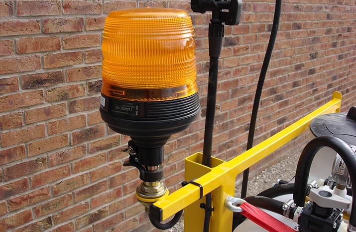Flashing Amber Beacon (xenon type) on VALE Engineering's ATV quad bike mounted Weed Sprayer
