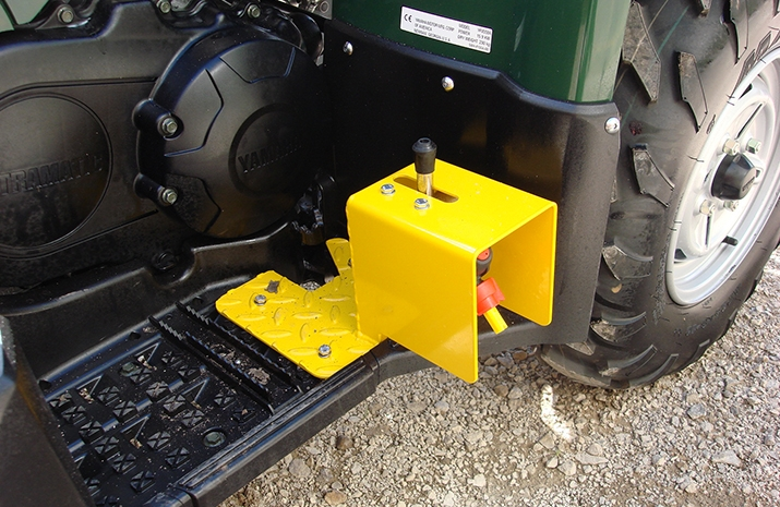 Two Foot Rest Nozzles with off-centre very low drift nozzles on the ATV quad bike mounted Weed Sprayer PKL350