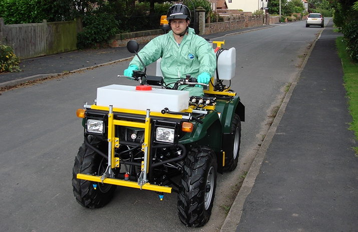 VALE Engineering's ATV quad bike mounted Weed Sprayer PKL350 fully conforms to current British and European Standards for spraying equipment, is Compliant with EN ISO 4254 and CE marked