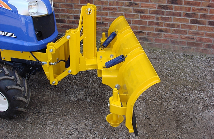 VALE Engineering supply the snow plough, as standard, with a basic mounting bracket for the end user to fit to the compact tractor's front weight bracket or chassis.