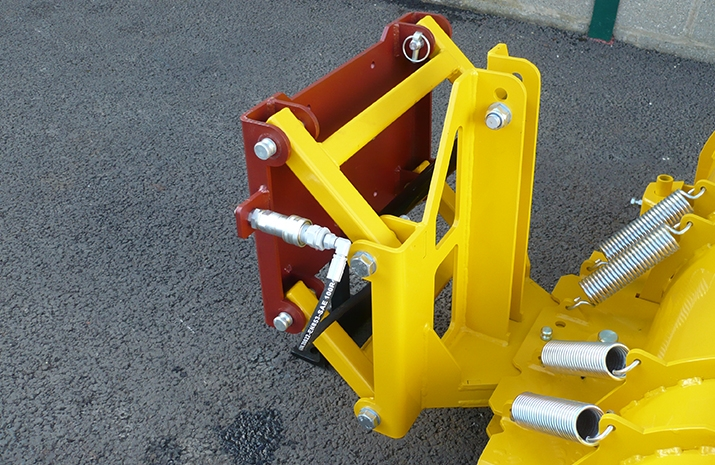 VALE Engineering's snow plough attachment break-back system has quick release hydraulic connection and quick release pins