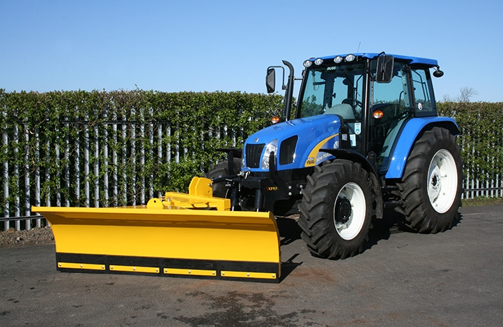 Heavy-duty 2.4m snow plough attachment designed by VALE Engineering for agricultural tractors