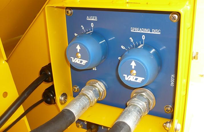 Manually adjustable spread width valve & application rate valve on VALE Engineering's TS1200 salt spreader
