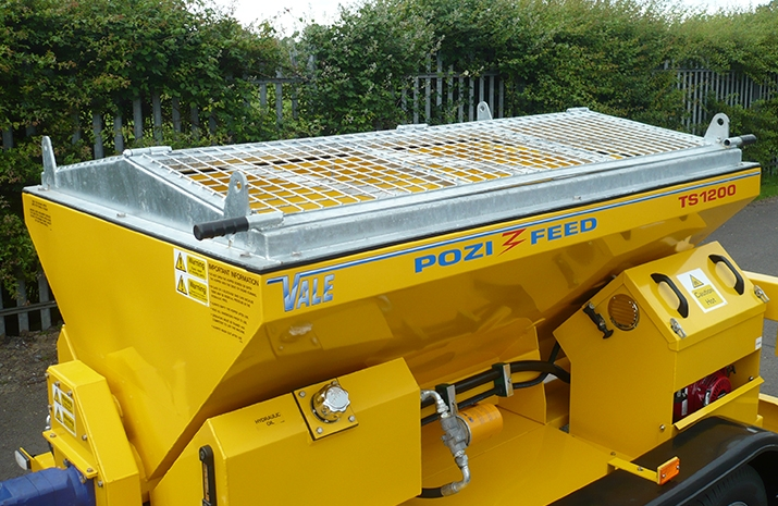 The TS1200 salt spreader from VALE Engineering has galvanized pitched mesh, complete with access hatch