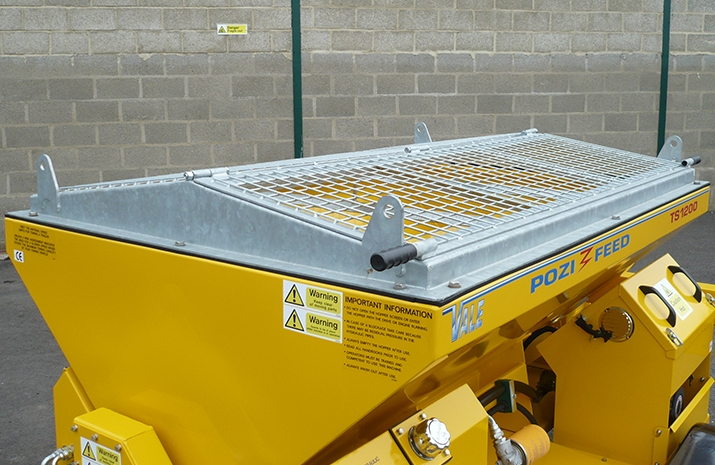 Galvanized pitched mesh, complete with access hatch on the TS1200DC Trailed Salt Spreader (gritter)