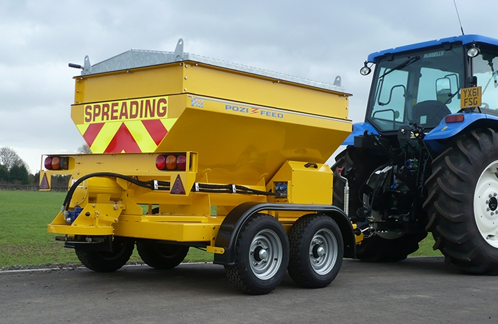 The VALE TS1700 Tractor Towed Salt Spreader (Gritter) from VALE Engineering has 1.2m³ Mild Steel Hopper with 0.5m³ Mild Steel Hopper extensions