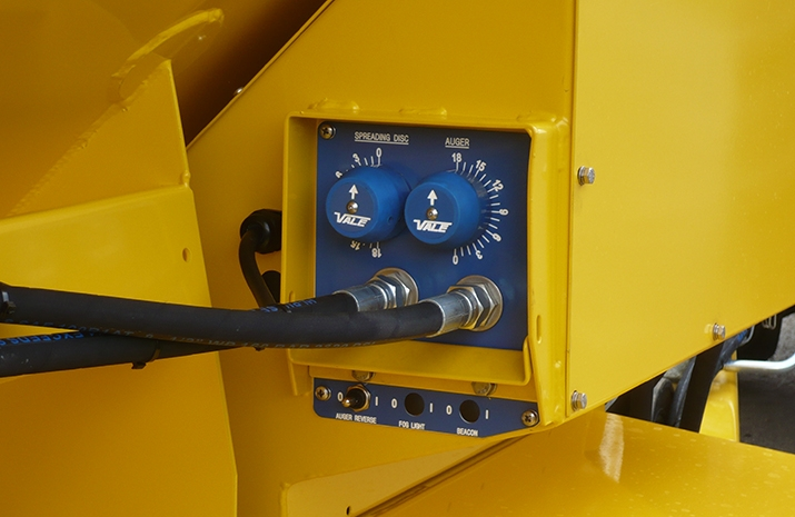 The VALE TS1700 Tractor Towed Salt Spreader (Gritter) from VALE Engineering has a manually adjustable application rate valve