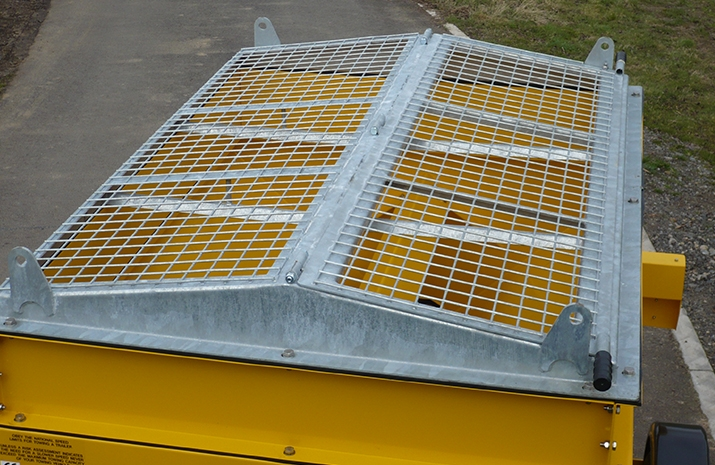 Galvanized pitched mesh which can be opened on the VALE TS1700 Tractor Towed Salt Spreader (Gritter) from VALE Engineering