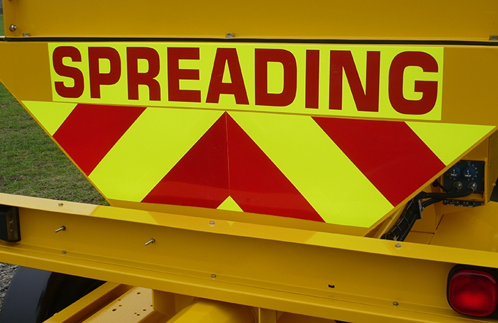 Fluorescent markings on the rear of the VALE TS1700 Tractor Towed Salt Spreader (Gritter) from VALE Engineering