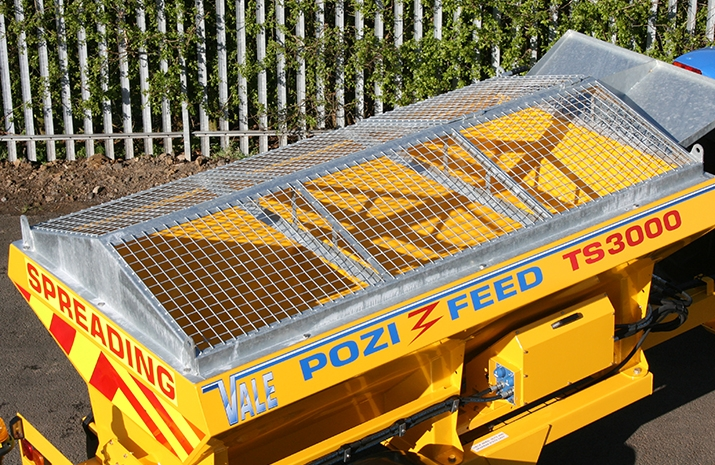 Galvanized pitched mesh, complete with access hatch on VALE Engineering's VALE TS3000 Tractor Towed Salt Spreader
