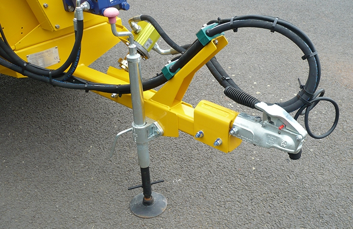 VALE Engineering's VALE TS500 Tractor Towed Salt Spreader (Gritter) and both a 50mm cast drawbar ball coupling and a Prop stand for when not in use