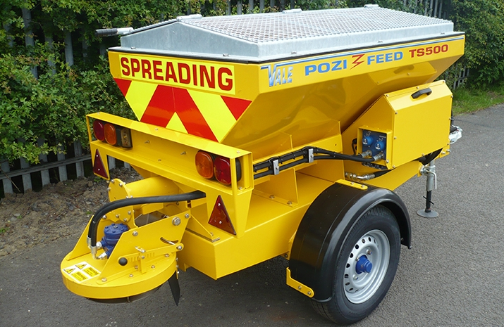 The VALE TS500 Tractor Towed Salt Spreader (Gritter) has a high quality, low speed chassis fitted with un-braked axles
