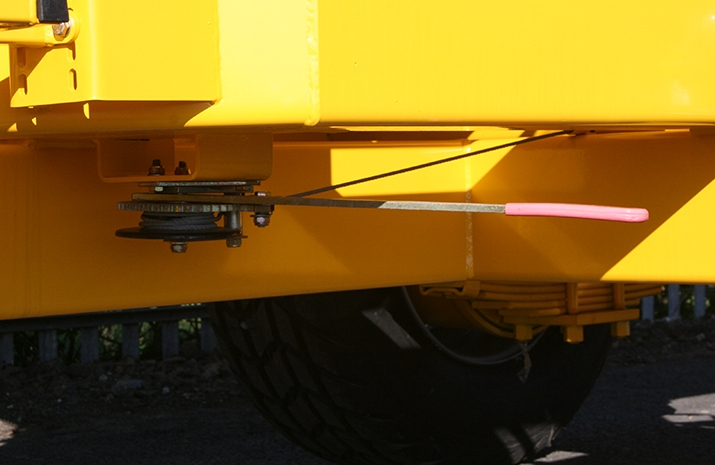 Parking handbrake on the VALE TS5000 Tractor Towed Salt Spreader (Gritter) from VALE Engineering