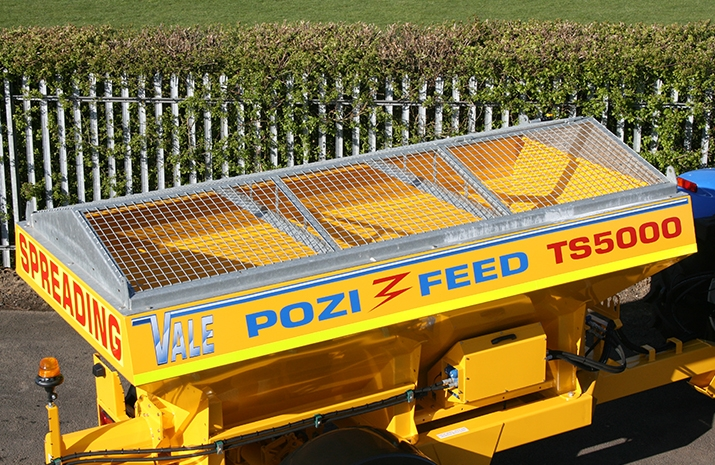 Galvanized pitched mesh, complete with access hatch, on the VALE TS5000 Tractor Towed Salt Spreader (Gritter)