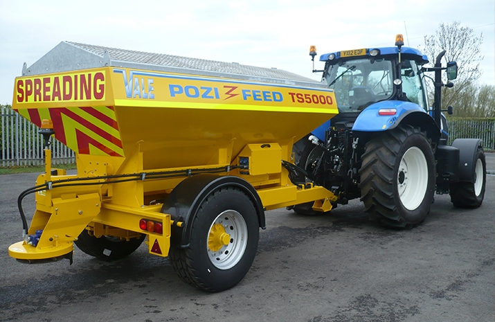 The Tractor Towed Salt Spreader (Gritter): VALE TS5000 has a 5.0m³ Mild Steel Hopper