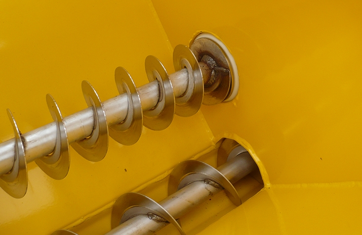 POZI-FEED augers run in maintenance free nylon bushes on VALE Engineering's TS500HS salt spreader (gritter)