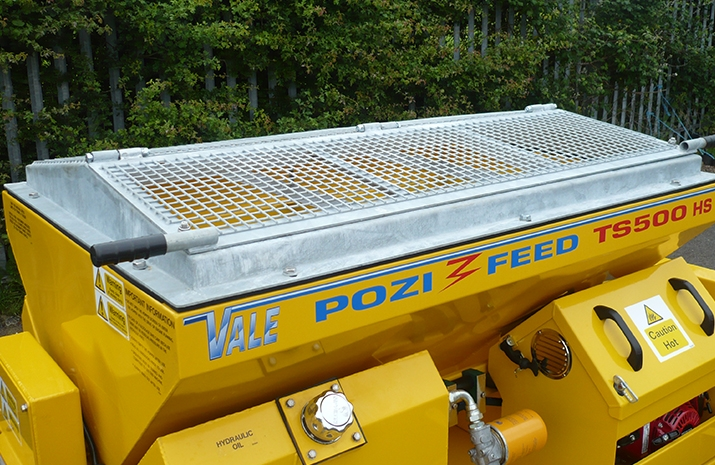Galvanized pitched mesh, complete with access hatch on VALE Engineering's TS500HS salt spreader (gritter)