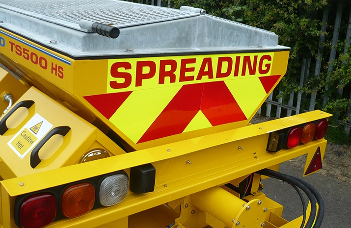 VALE Engineering's TS500HS salt spreader (gritter) has fluorescent markings on the rear.