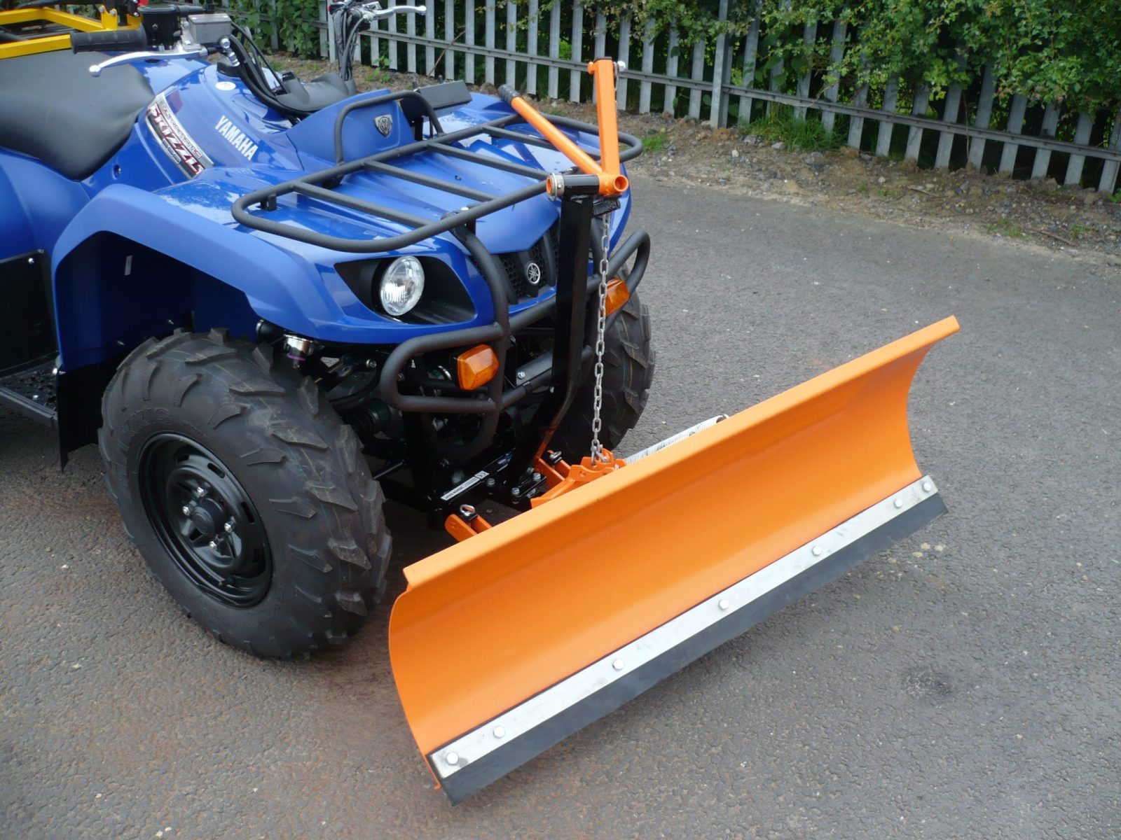 This Drop Gritter/Snowplough ATV Quad Bike Combi is ideal for winter maintenance use in locations such as foot paths, car parks, education and retail sites