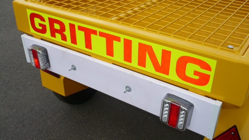 Towed or Mounted Drop Gritter TS80 has fluorescent markings on the rear and full road lighting with high quality LED lighting