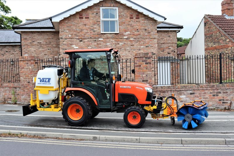 Liquid De-icer/Snowbrush Mini-Tractor Combi - designed specifically to work on narrow cycleways and manoeuvre around bollards and other street furniture